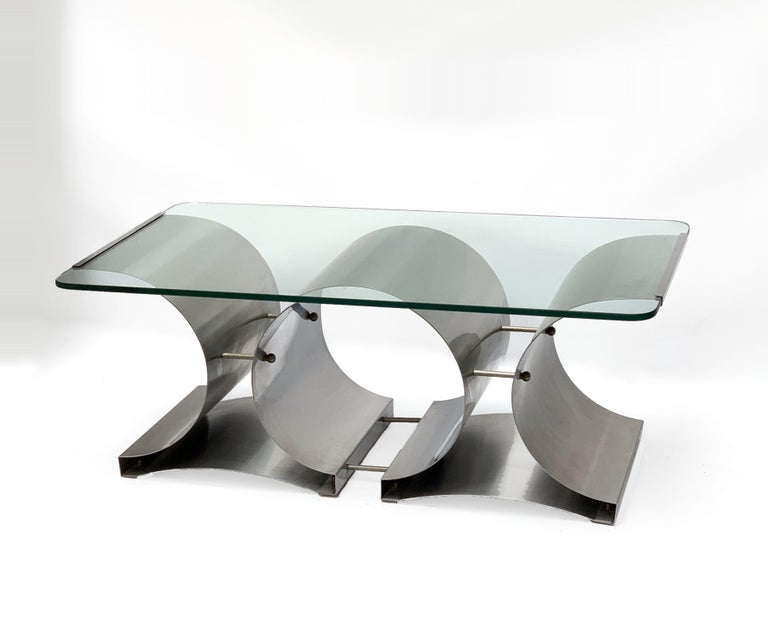 20th Century Francois Monnet Midcentury Steel and Crystal Glass French Coffee Table, 1970s For Sale