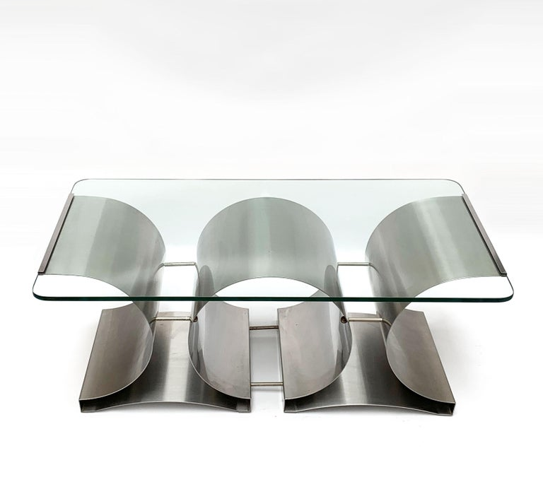 Stainless Steel Francois Monnet Midcentury Steel and Crystal Glass French Coffee Table, 1970s For Sale