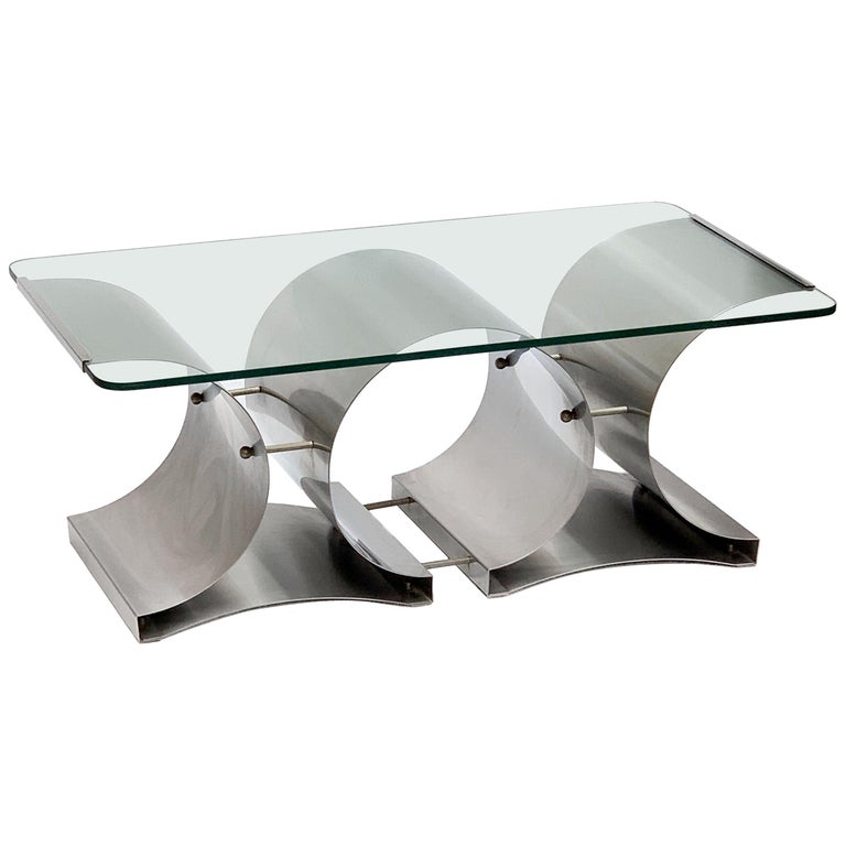Francois Monnet Midcentury Steel and Crystal Glass French Coffee Table, 1970s For Sale