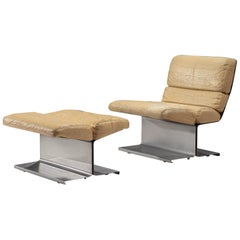 François Monnet Slipper Chair with Ottoman in Steel and Leather