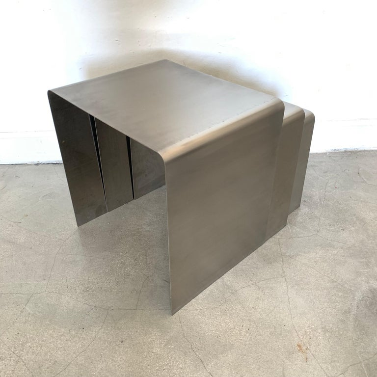 François Monnet Waterfall Bent Steel Nesting Ocassional Side End Tables By Kappa For Sale At 1stdibs