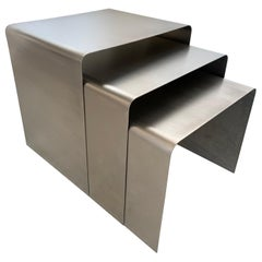 François Monnet Waterfall Bent Steel Nesting Ocassional Side End Tables by Kappa
