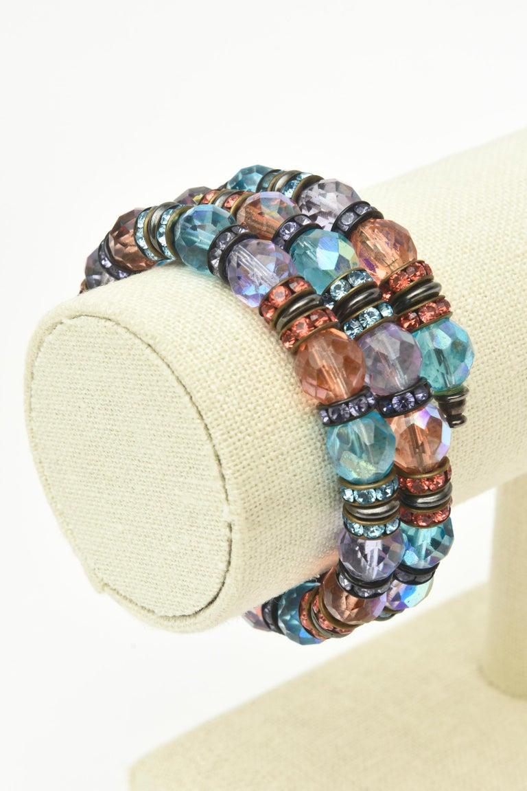 Francois Montague Rhinestone and Faceted Crystal Wrap Bracelet Vintage For Sale 4