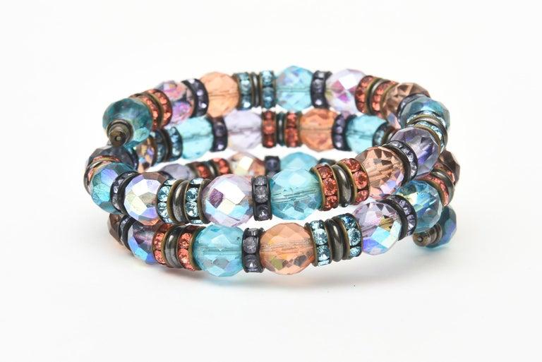 Modern Francois Montague Rhinestone and Faceted Crystal Wrap Bracelet Vintage For Sale