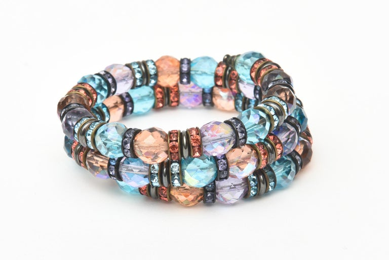 Bead Francois Montague Rhinestone and Faceted Crystal Wrap Bracelet Vintage For Sale
