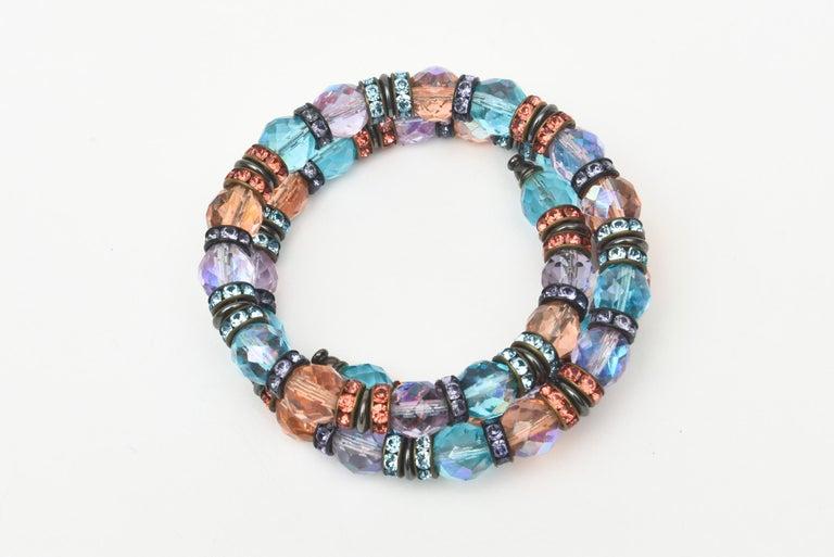 Women's Francois Montague Rhinestone and Faceted Crystal Wrap Bracelet Vintage For Sale