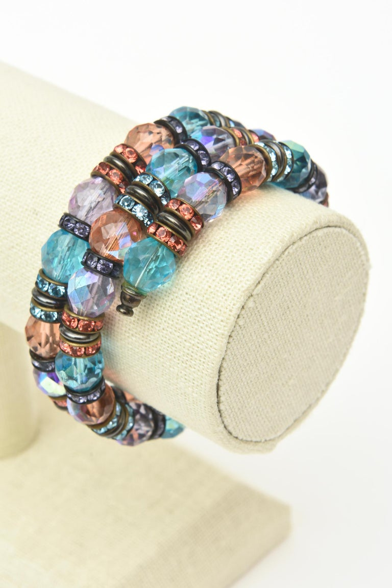 Francois Montague Rhinestone and Faceted Crystal Wrap Bracelet Vintage For Sale 3