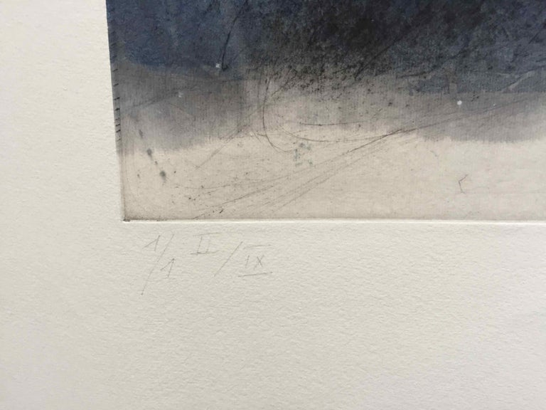 Friche/Fallow Land: Edition (1/9) Engraving with Hand Painting by Francois Pont For Sale 1
