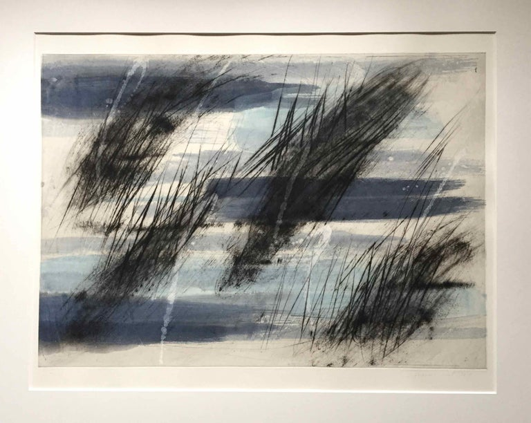 François Pont Abstract Print - Friche/Fallow Land: Edition (1/9) Engraving with Hand Painting by Francois Pont