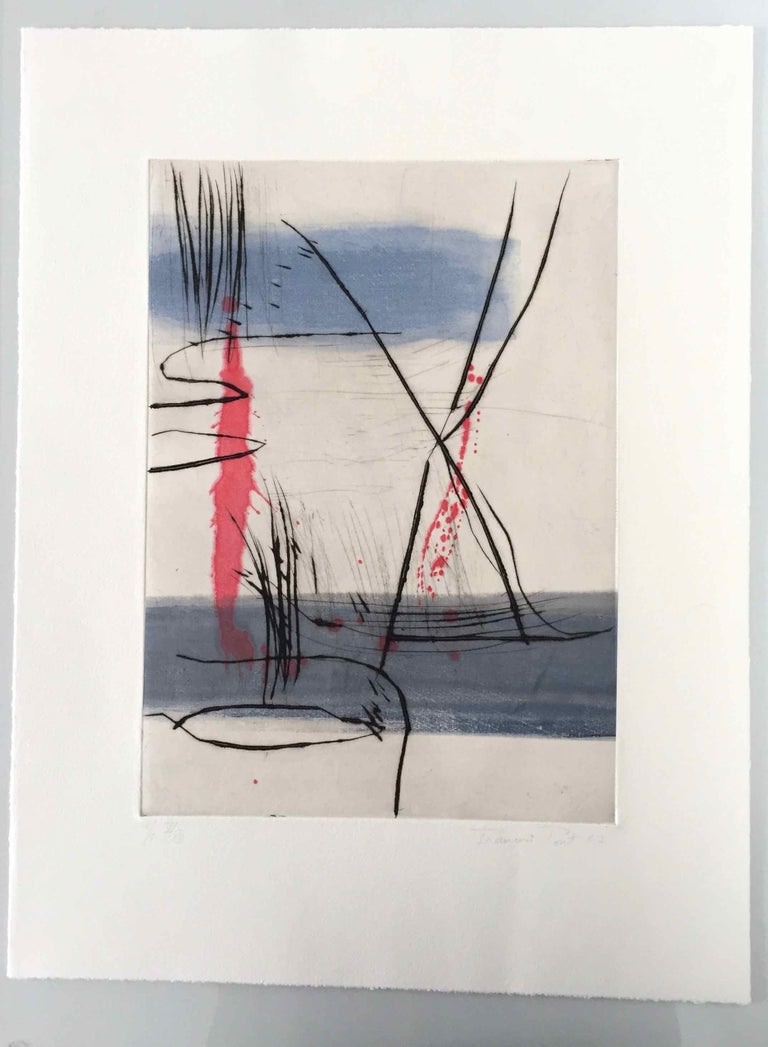 Germination 6, 2017, Dry point on hand painted chine collé, 15 7/10 × 11 2/5 in, 40 × 29 cm, Edition 6/12  Using black ink, anthracite charcoals and thin washes of fresh, dancing colour, François Pont's engravings/paintings offer a sense of space