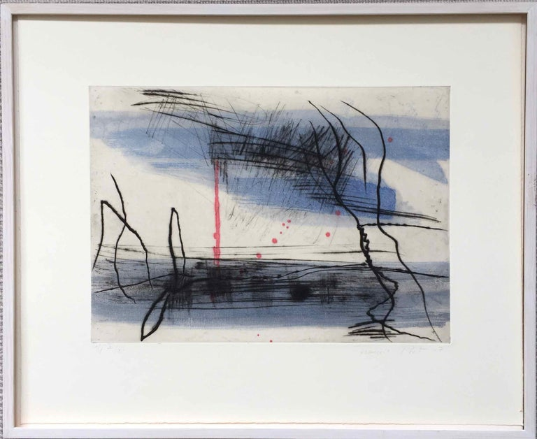 Growth 5, 2017, Dry point on hand painted chine collé, 29 x 40 cm, Edition 5/12  Using black ink, anthracite charcoals and thin washes of fresh, dancing colour, François Pont's engravings/paintings offer a sense of space and rhythm in the landscape