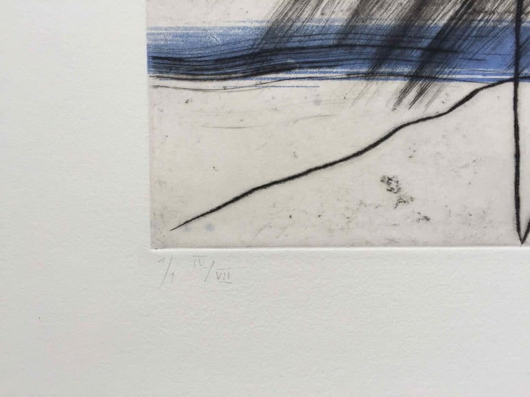 Mountain 4: Editioned Engraving with Unique Hand Painting by François Pont For Sale 1