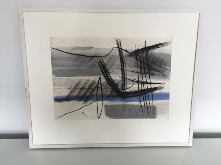 Mountain 4: Editioned Engraving with Unique Hand Painting by François Pont For Sale 4