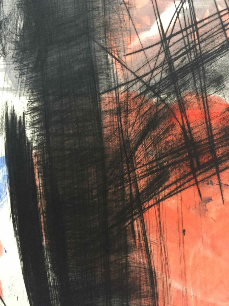 Souche 5: Limited Edition Engraving with Unique Hand Painting by François Pont For Sale 2