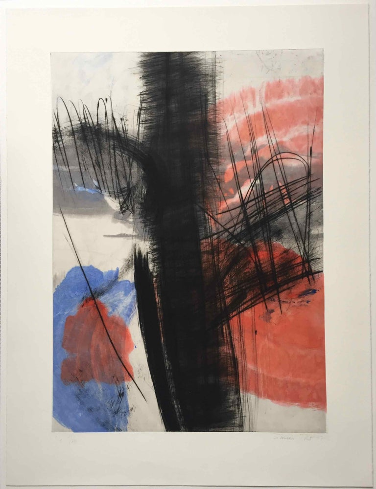 Souche V, 2017, Drypoint on hand-painted Chine collé, 27 3/5 × 19 7/10 in, 70 × 50 cm, Edition of 1/1 (limited plate edition 5 of 12)  Using black ink, anthracite charcoals and thin washes of fresh, dancing colour, François Pont's