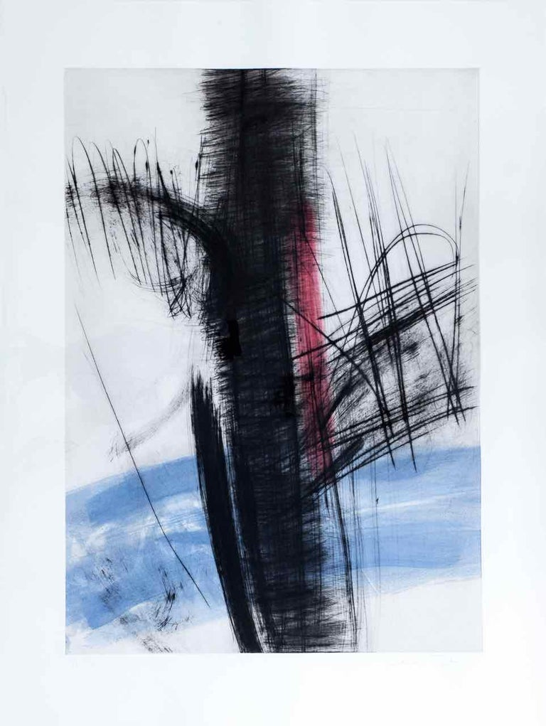 François Pont Abstract Print - Souche 6: Limited Edition Engraving with Unique Hand Painting