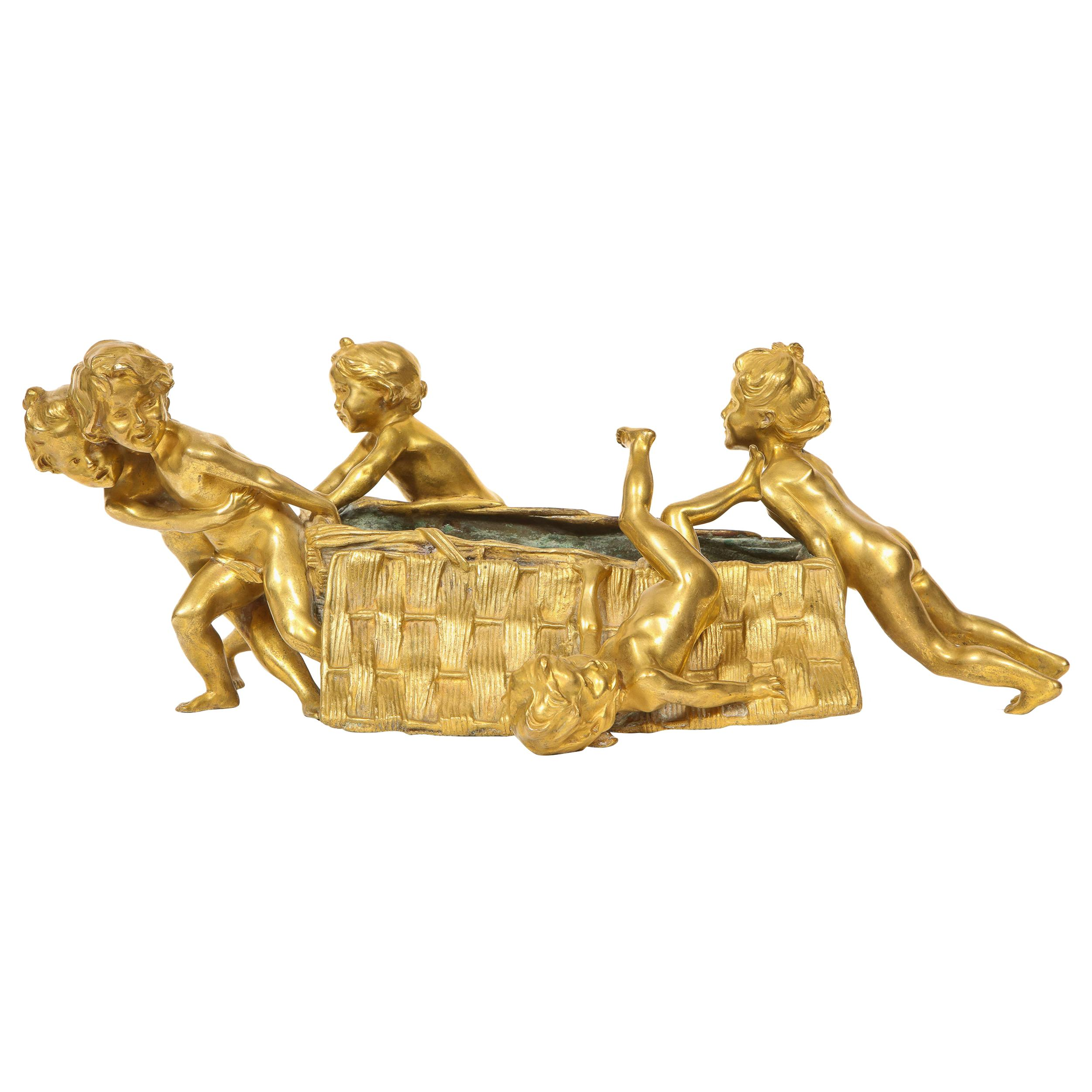 Francois-Raoul Larche 'French' a French Gilt Bronze Table Centerpiece