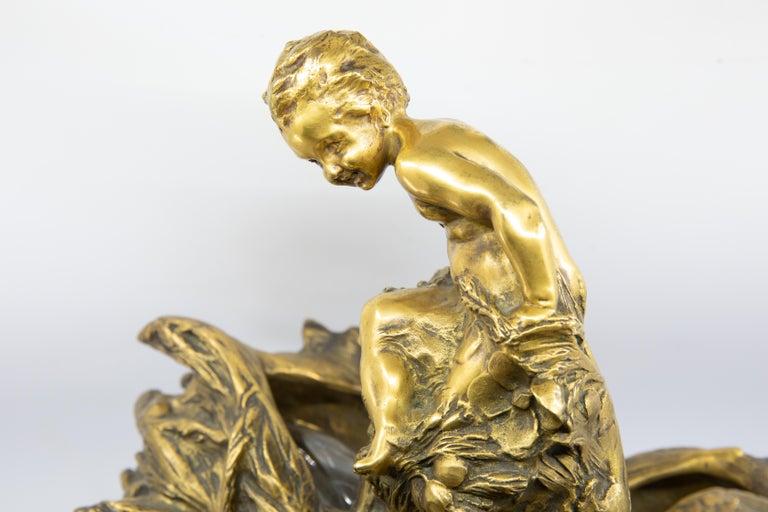 Gilt François-Raoul Larche Midcentury Bronze Lamp For Sale