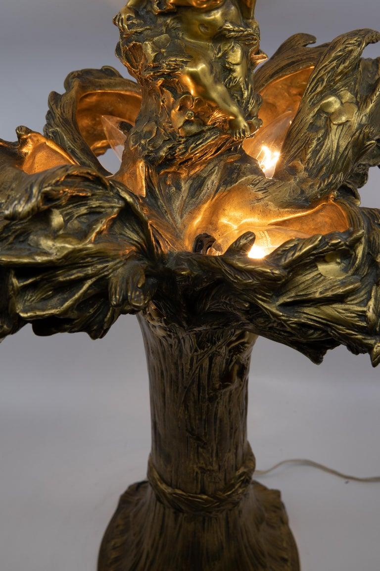 20th Century François-Raoul Larche Midcentury Bronze Lamp For Sale
