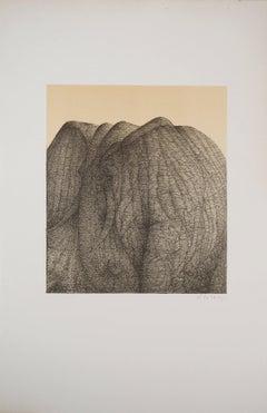 Elephant Mountain - Original lithograph, Handsigned