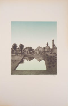 Mirage : Surrealist City - Original lithograph, Handsigned