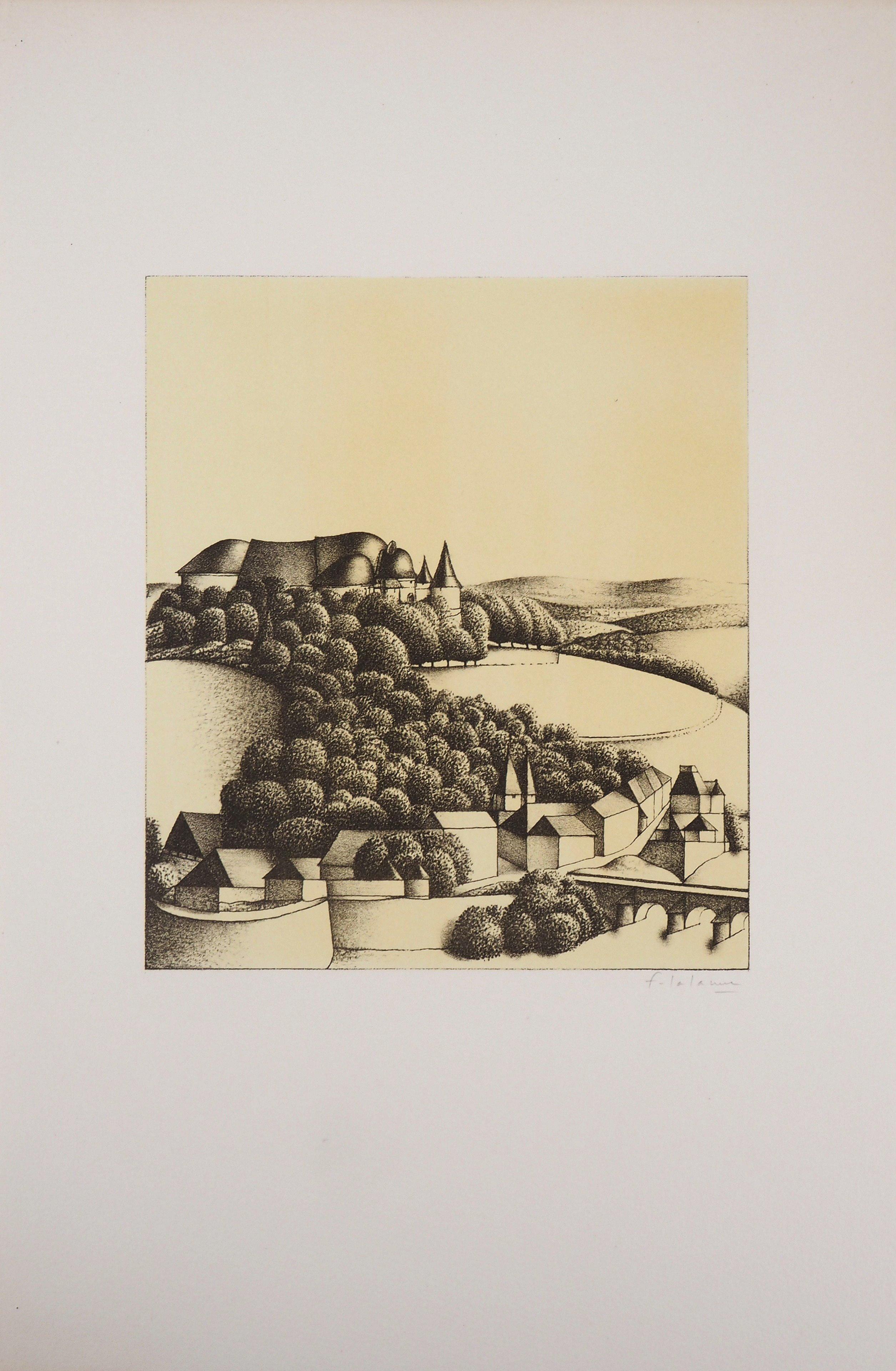 Rhino Castle  - Original lithograph, Handsigned