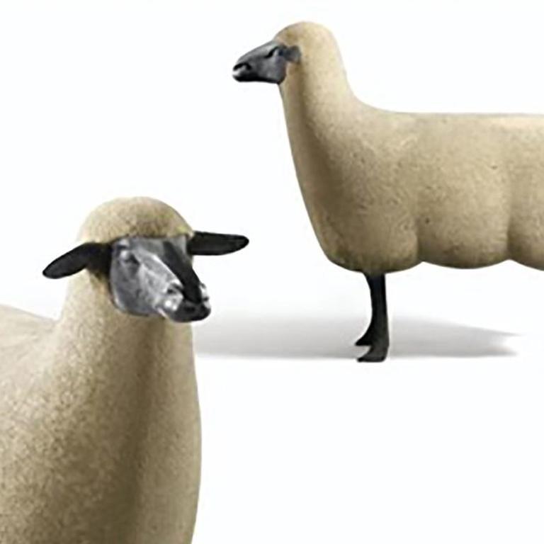 'Mouton de Pierre' A Group of three - Beige Figurative Sculpture by Francois-Xavier Lalanne