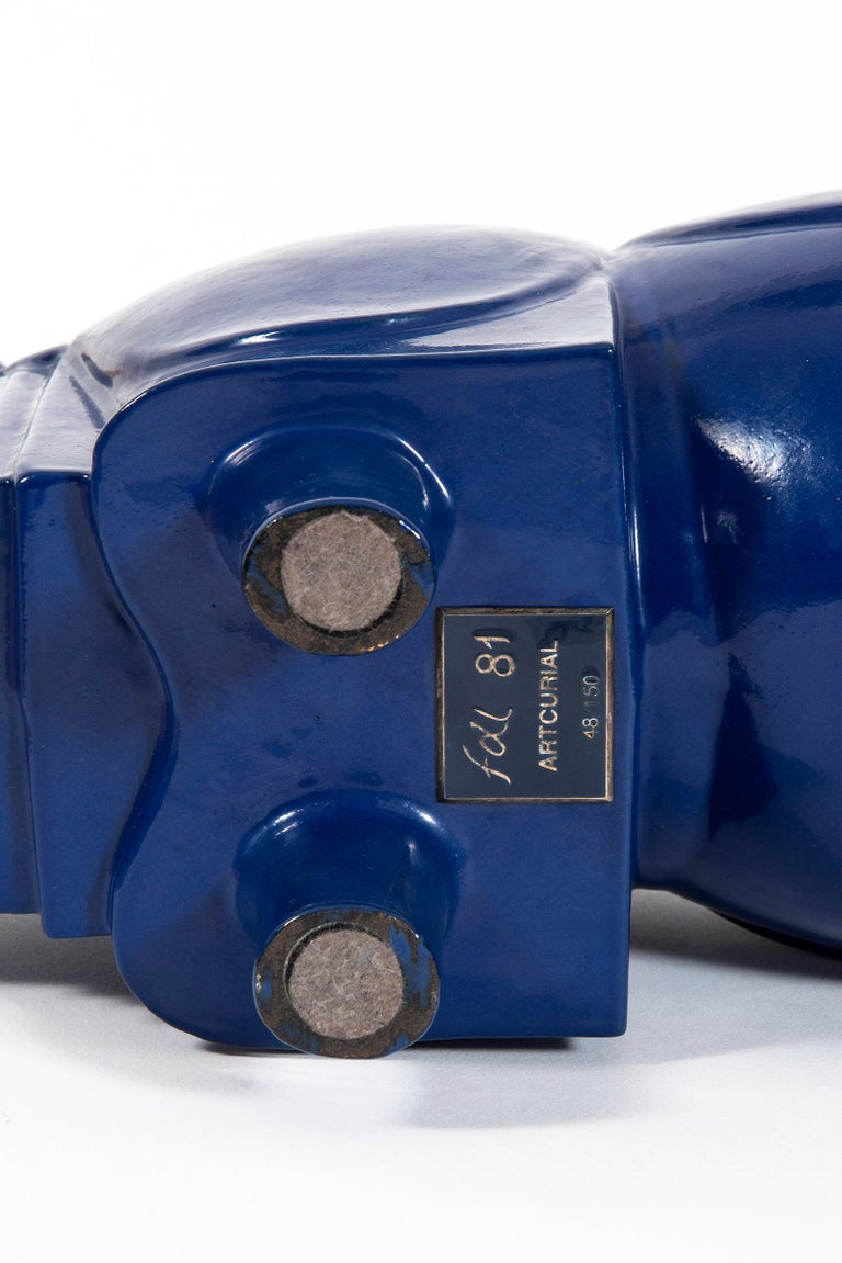 Rhinoceros, FX Lalanne, Sculpture, Design, Blue Klein, 1980's, Iron, French Art For Sale 2