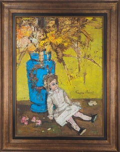Still Life : The Doll and the Blue Vase - Original Oil on canvas, Signed