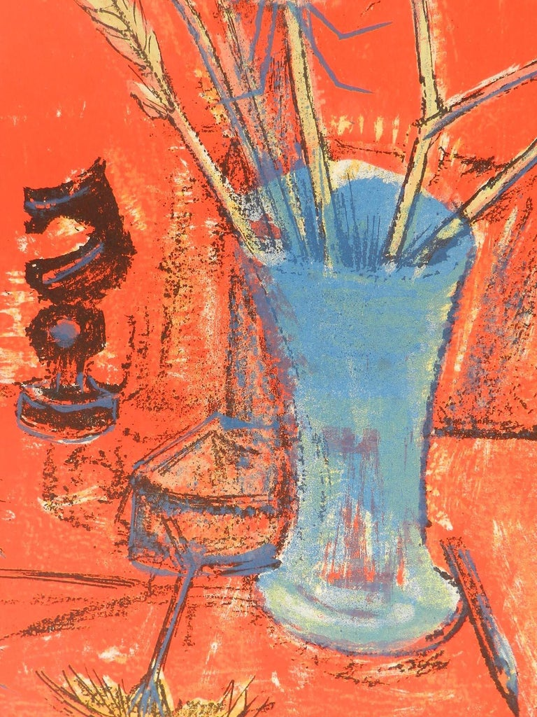 Francoise Adnet Still Life signed Lithograph Mid Century French c1950-60 1