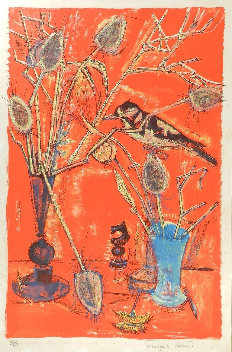 Francoise Adnet Still Life signed Lithograph Mid Century French c1950-60 - Print by Francoise Adnet