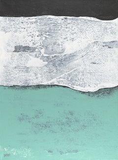 """""""Cotton Flower"""", Turquoise White Abstract Marine Landscape Acrylic Painting"""