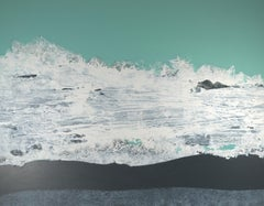 """Force 8"", Black White Turquoise Abstract Marine Landscape Acrylic Painting"