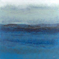"""""""Yesterday"""", Grey & White Blue Abstract Marine Landscape Acrylic Painting"""