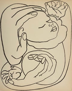Baby in Arms, Original French Mourlot Modernist Lithograph 1950s Francoise Gilot
