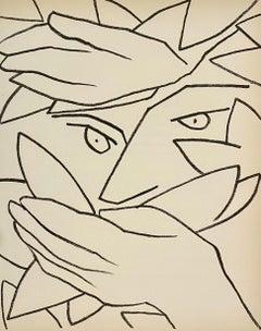Hiding Head Original French Mourlot Modernist Lithograph, 1950s Francois Gilot