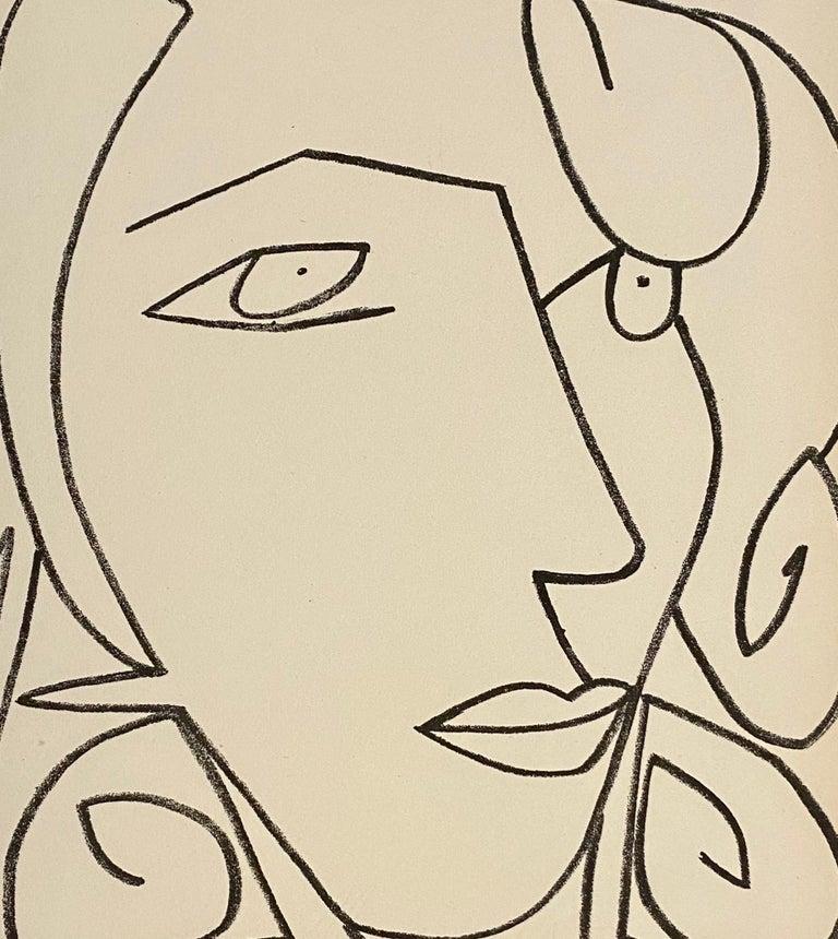 Portrait head of a woman, Original French Mourlot Modernist Lithograph 1950s - Print by Françoise Gilot