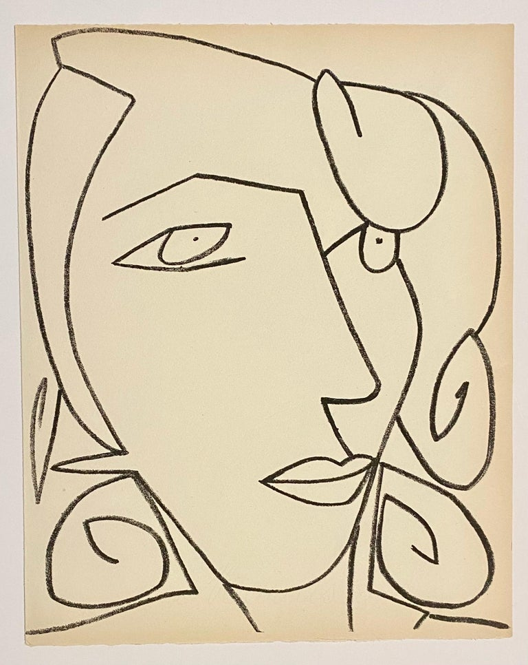 Portrait head of a woman, Original French Mourlot Modernist Lithograph 1950s - Beige Portrait Print by Françoise Gilot