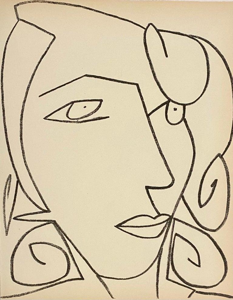 Françoise Gilot Portrait Print - Portrait head of a woman, Original French Mourlot Modernist Lithograph 1950s