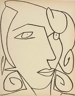 Portrait head of a woman, Original French Mourlot Modernist Lithograph 1950s