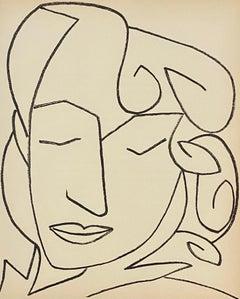 Portrait of a woman Original French Mourlot Modernist Lithograph Francoise Gilot