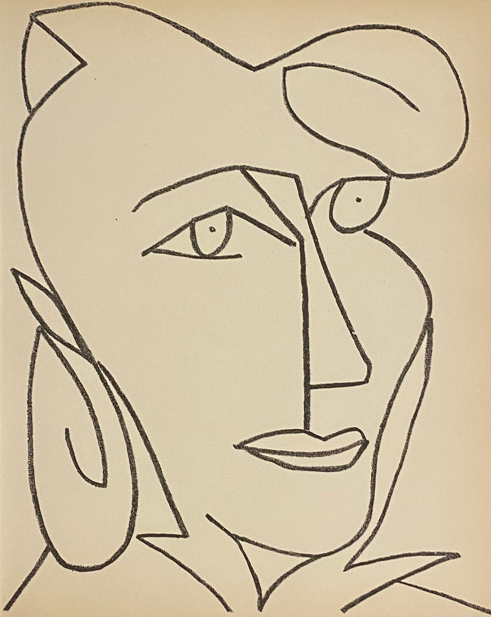 Portrait Woman Original French Mourlot Modernist Lithograph 1951 Francoise Gilot