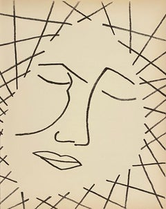 Untitled Face, Original French Mourlot Modernist Lithograph, 1951 Francois Gilot