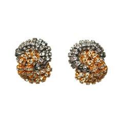 Francoise Montague 2 Tone Knott Clip Earrings