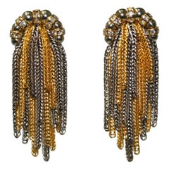 Francoise Montague 2 tone Multi Chain Clip Earrings