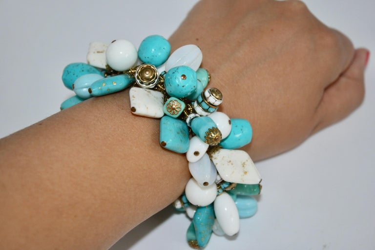 Francoise Montague Blue and White Dangle Bracelet In New Condition For Sale In Virginia Beach, VA