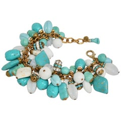 Francoise Montague Blue and White Dangle Bracelet