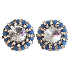 Francoise Montague Blue Glass and Crystal Clip Earrings