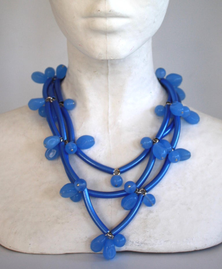Blue tubes are mixed with vintage glass blue beads in this quintessential Francoise Montague necklace made in Paris, France.   As seen in the book Les Paruriers, Bijoux de le Haute Couture    16
