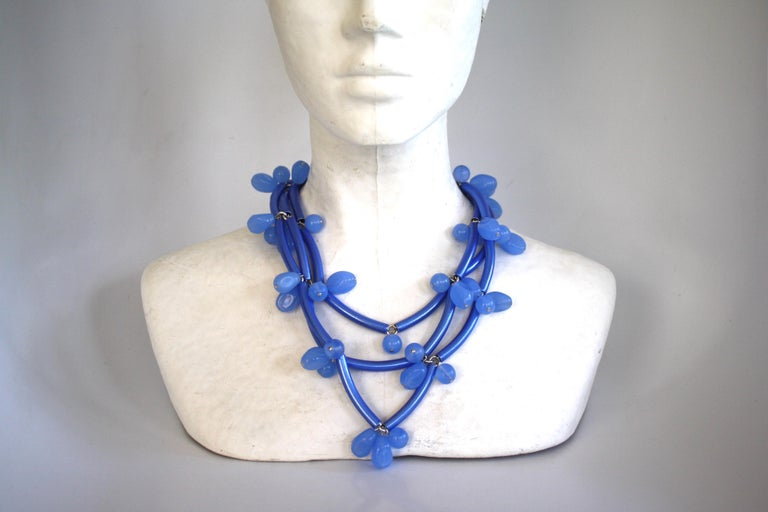 Francoise Montague Blue on Blue Elke Necklace  In New Condition For Sale In Virginia Beach, VA